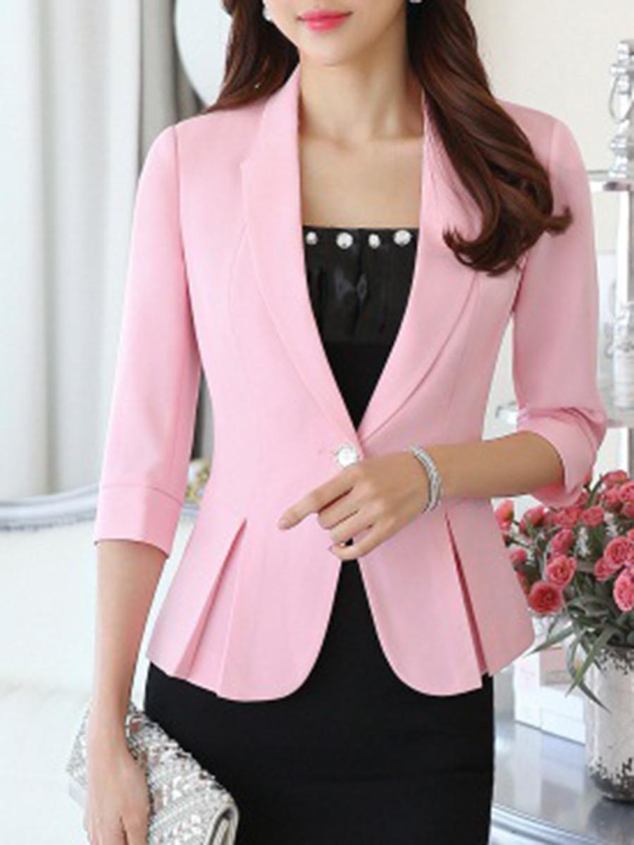 office outfit flounce plain daily office autumn spring summer Fold-Over Collar  Flounce  Single Button  Plain  Three-Quarter Sleeve Blazers