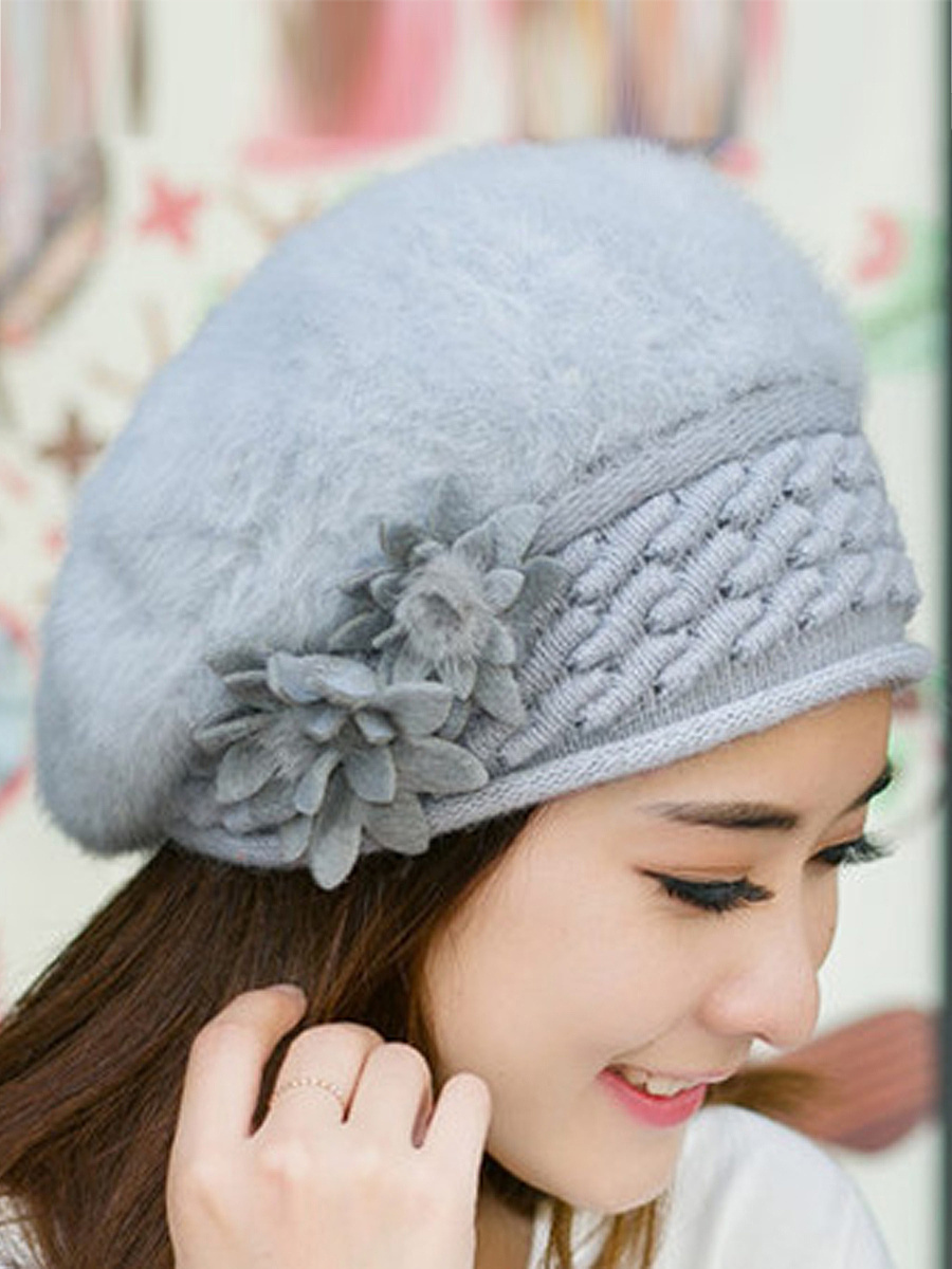 Lady Elegance  Fashion Faux Fur Plain Floral Decoration Hats For Winter Women