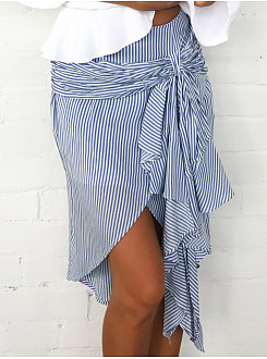 Cutout  Asymmetric Stripe Above Knee Skirts