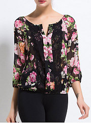 Spring Summer  Polyester  Women  V-Neck  Decorative Lace  Floral Printed  Three-Quarter Sleeve Blouses
