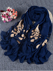 Linen Golden Peacock Embroidery Scarf