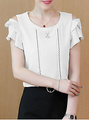 Summer  Chiffon  Women  Open Shoulder  Contrast Piping  Plain  Short Sleeve Blouses