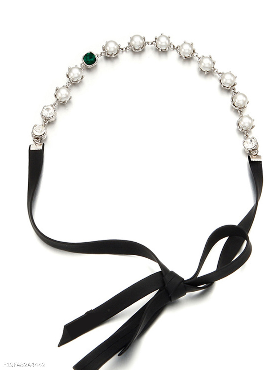 Pearls And Crystal Leather Hair Band