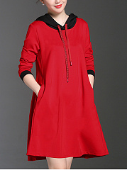 Hooded  Drawstring  Daily Plain Shift Dress