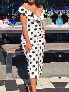Deep V-Neck  Polka Dot Bodycon Dress