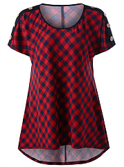 Spring Summer  Polyester  Women  Round Neck  Plaid Short Sleeve T-Shirts