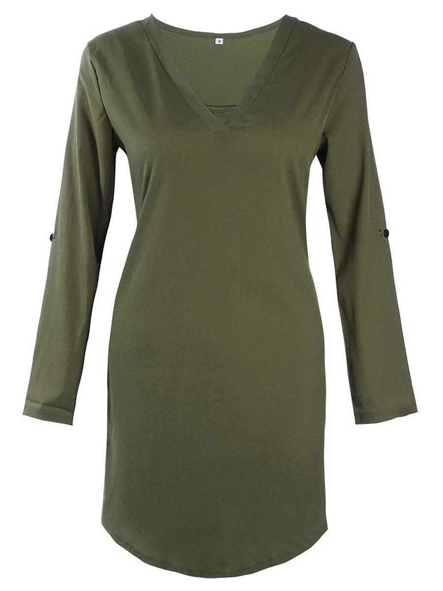 V-Neck Plain High-Low Roll-Up Sleeve Shift Dress