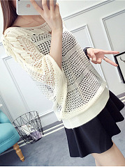 Round Neck  Cutout  Plain  Batwing Sleeve Knit Pullover