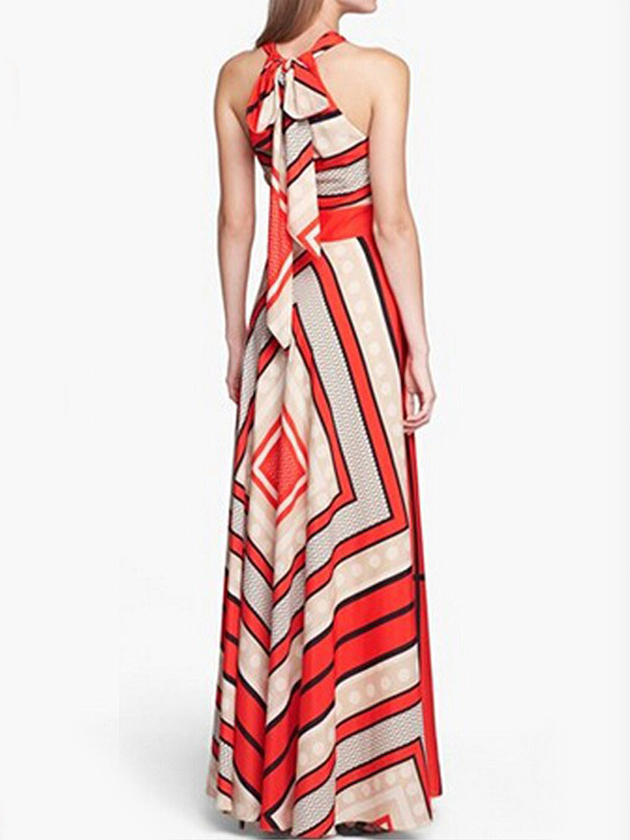 Crew Neck  Printed Maxi Dress