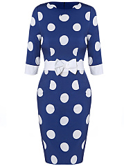 Round Neck Polka Dot Bow Bodycon Dress