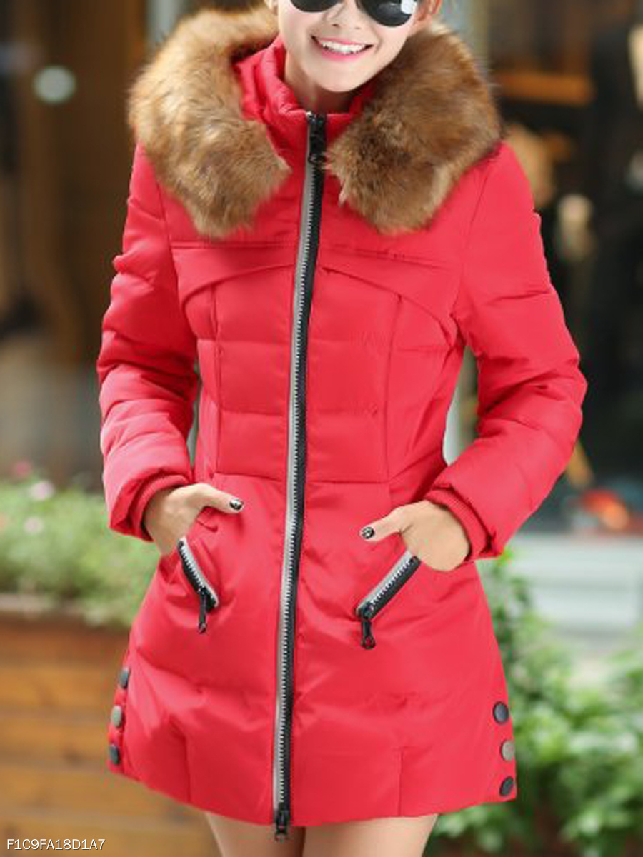 Hooded Pocket Zips Padded Coat