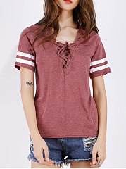 Summer-Polyester-Women-V-Neck-Drawstring-Plain-Short-Sleeve-T-Shirts
