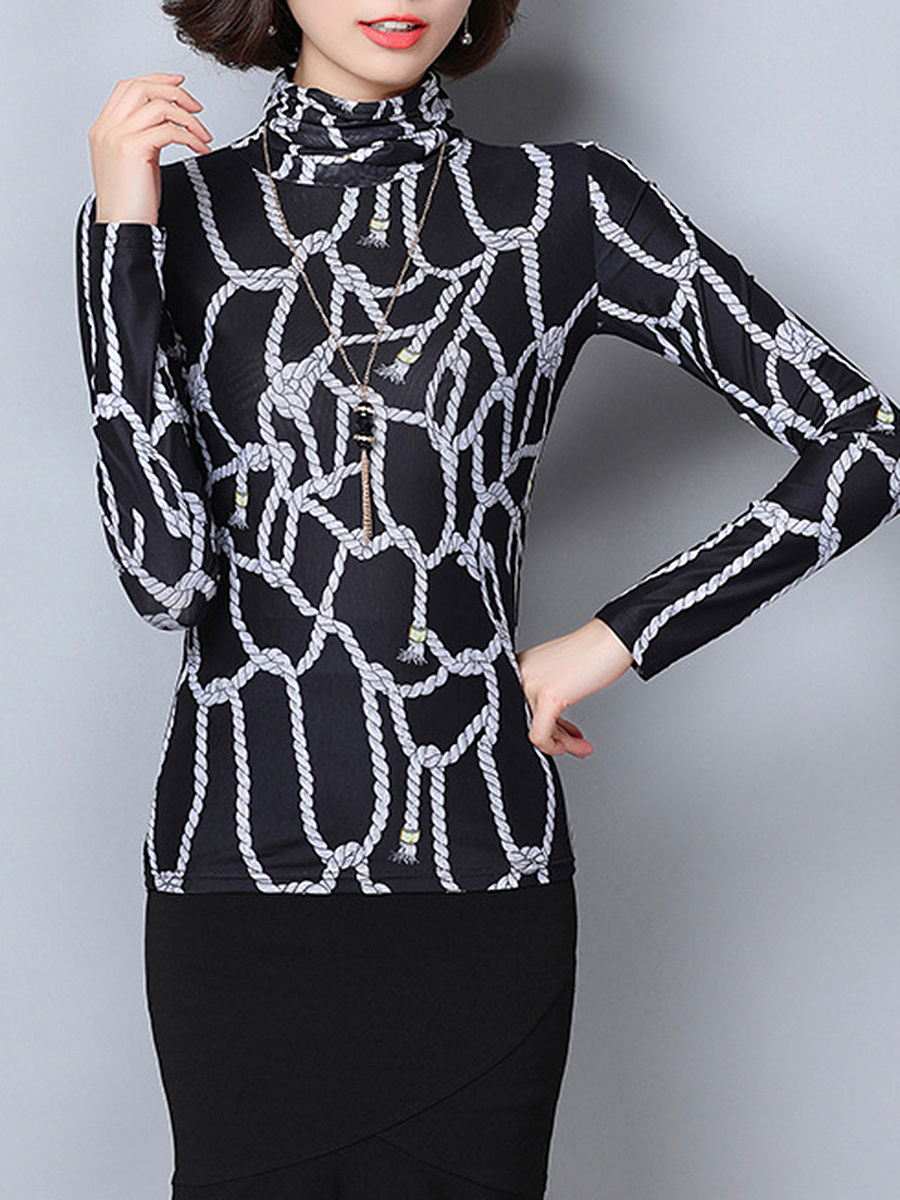 High Neck  Printed Long Sleeve Blouse