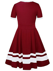 Casual Round Neck Color Block Skater Dress