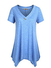 Summer  Polyester  Women  V-Neck  Asymmetric Hem  Decorative Button  Plain Short Sleeve T-Shirts