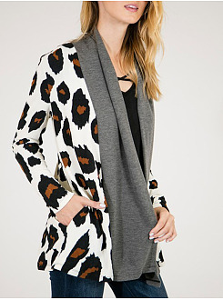 Lapel Pocket Leopard Cardigan