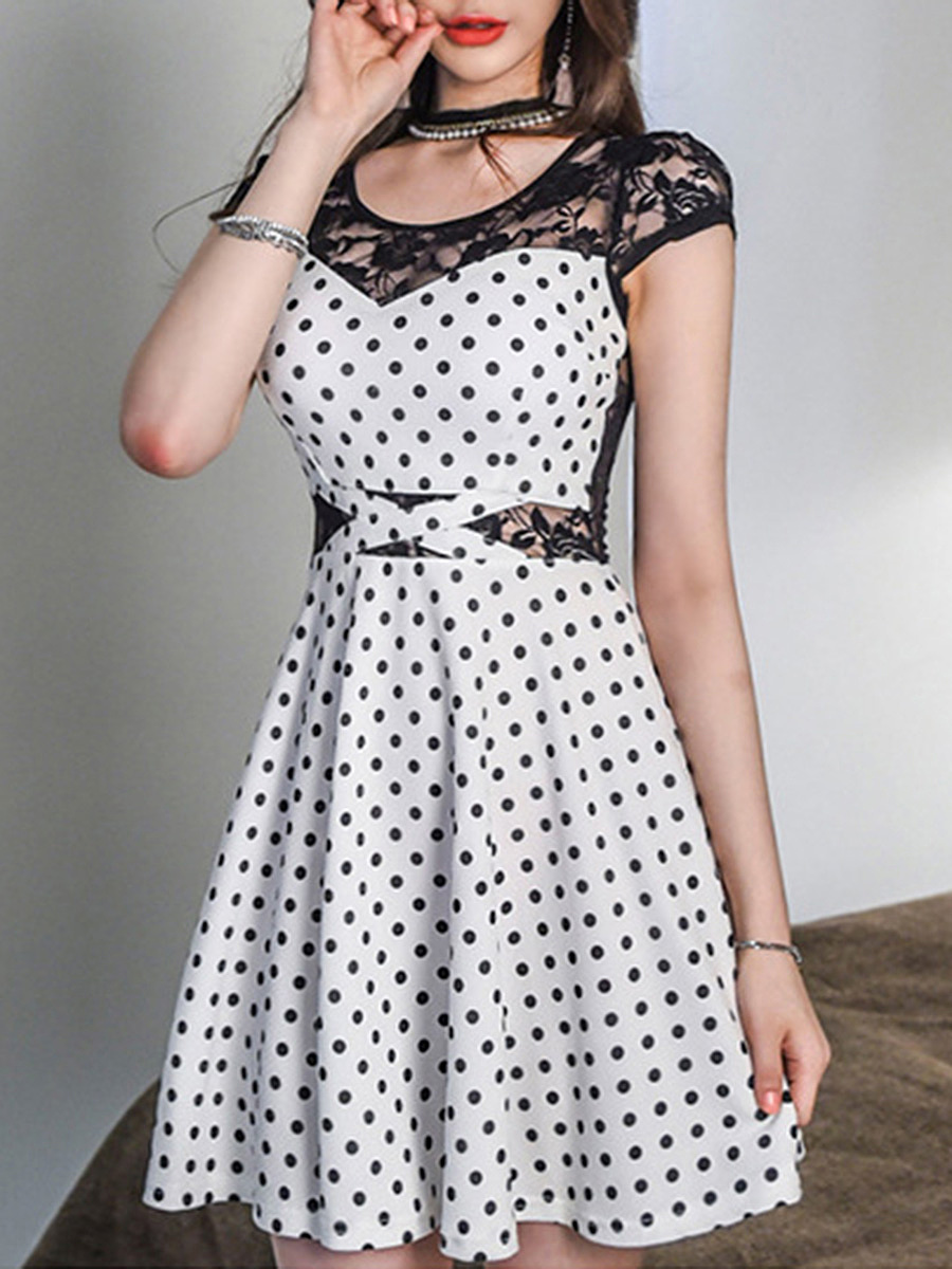Sexy See-Through Polka Dot Round Neck Skater Dress