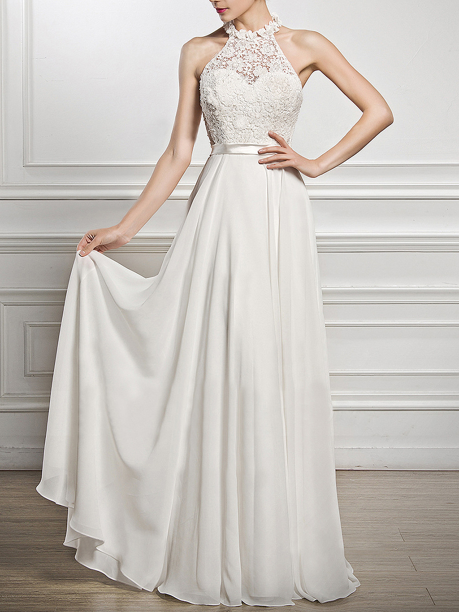 Crew Neck Solid Patchwork Hollow Out Evening Dress