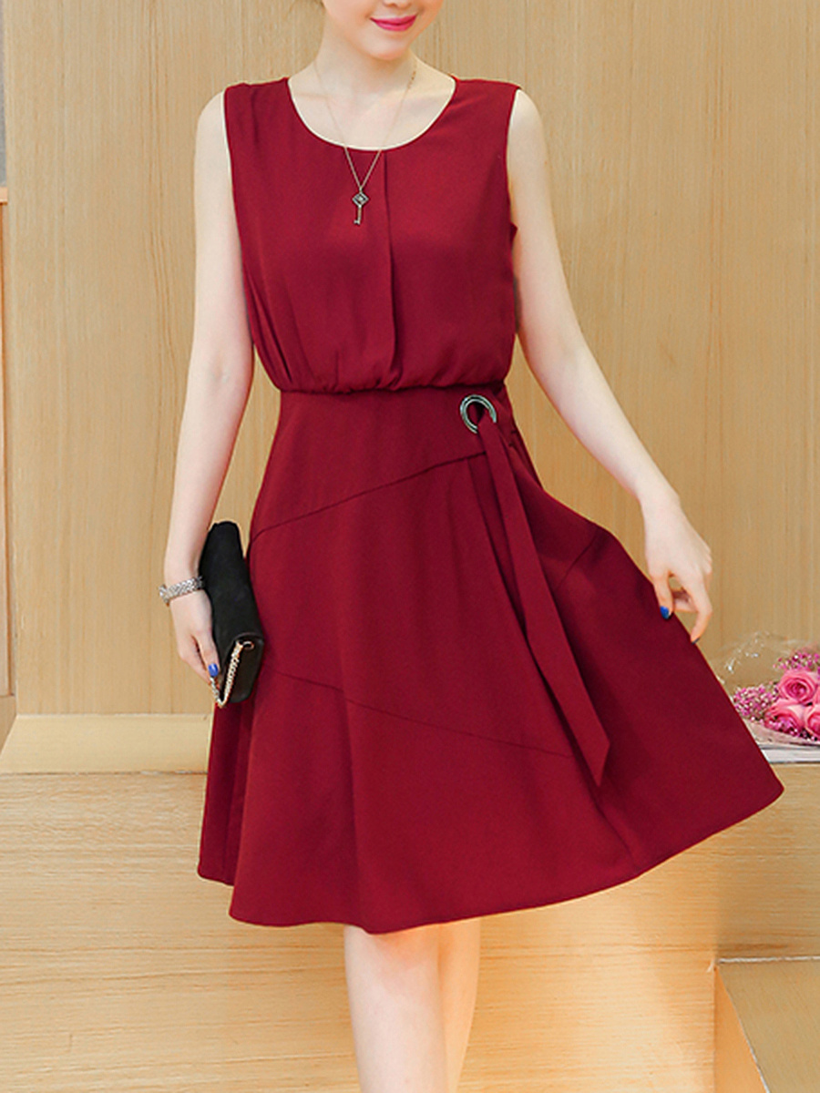 Round Neck Plain Sleeveless Skater Dress