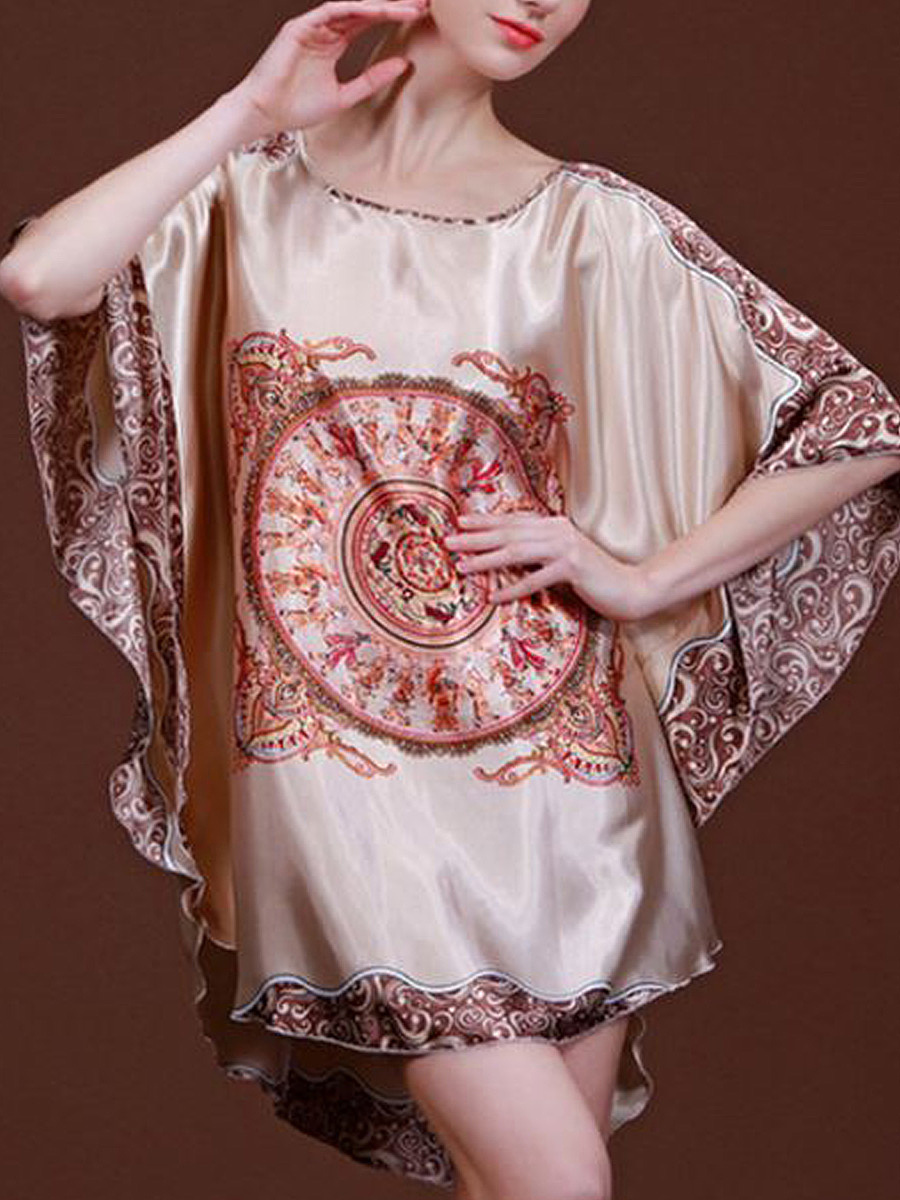 Print Batwing Sleeve Nightgown