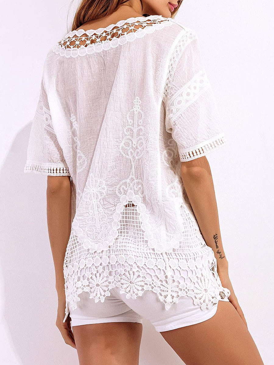 Spring Summer  Lace  Women  V-Neck  Decorative Lace  Hollow Out  Short Sleeve Blouses