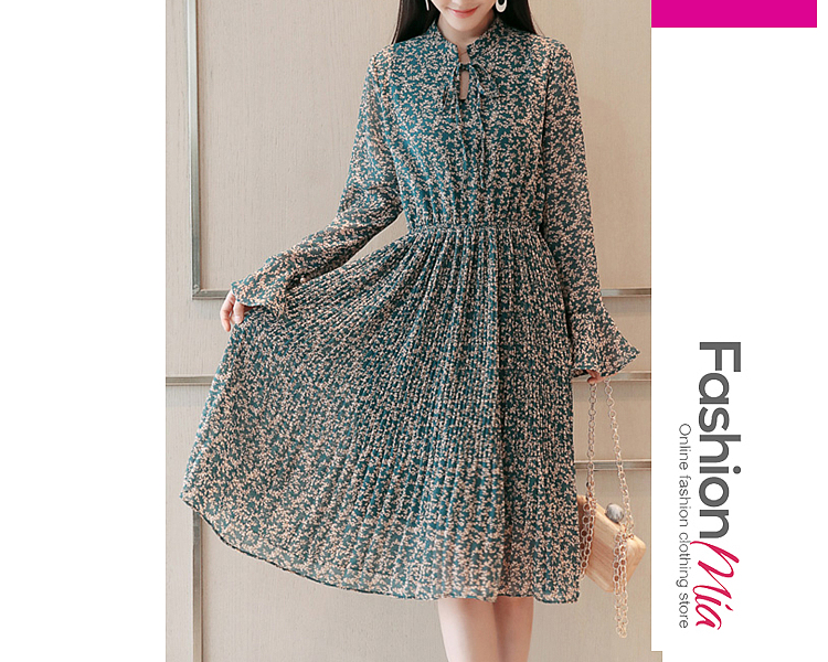 style:fashion, material:chiffon, collar&neckline:tie collar, sleeve_type:bell sleeve, sleeve:long sleeve, embellishment:elastic waist, pattern_type:printed, length:midi, how_to_wash:cold gentle machine wash, supplementary_matters:all dimensions are measured manually with a deviation of 2 to 4cm., occasion:date, season:autumn,winter, dress_silhouette:empire line, package_included:dress*1, lengthshouldersleeve lengthbust