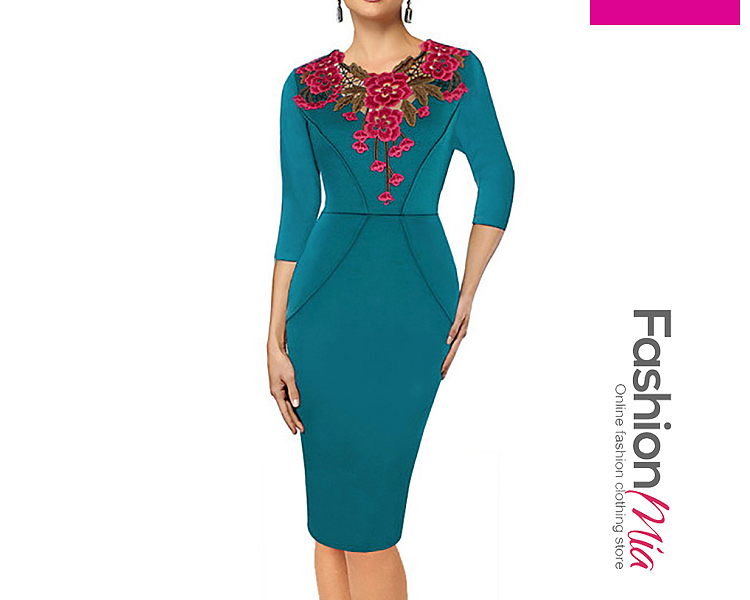 thickness:regular, brand_name:fashionmia, style:western, material:blend, collar&neckline:round neck, sleeve:three-quarter sleeve, pattern_type:brocade, length:knee-length, how_to_wash:cold  hand wash, supplementary_matters:all dimensions are measured manually with a deviation of 2 to 4cm.,the fabric is slightly elastic., occasion:daily,date, season:autumn,winter, dress_silhouette:sheath, package_included:dress*1, lengthbustwaisthip
