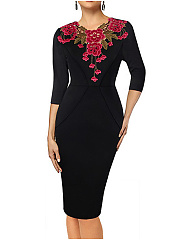 Round Neck  Brocade Bodycon Dress