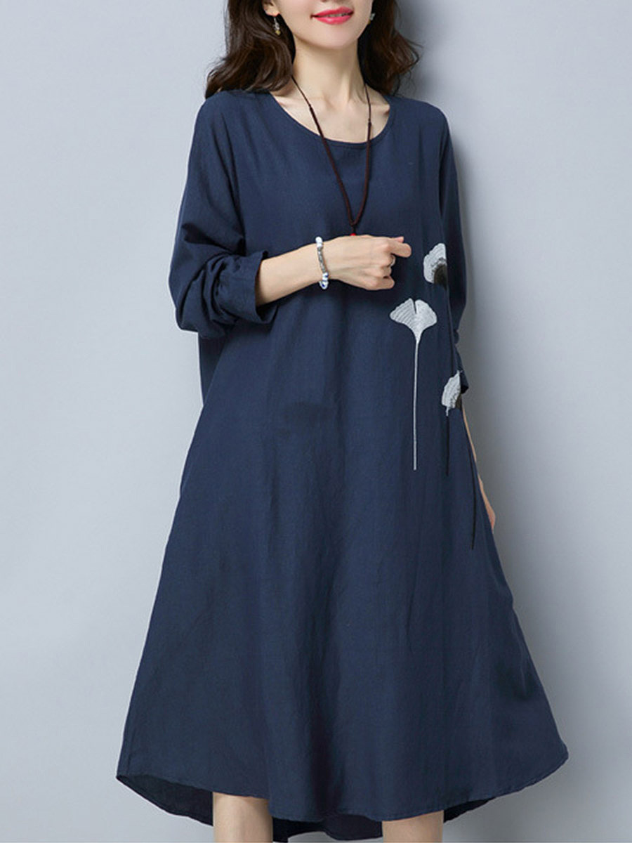 Embroidery Round Neck Pocket Maxi Dress
