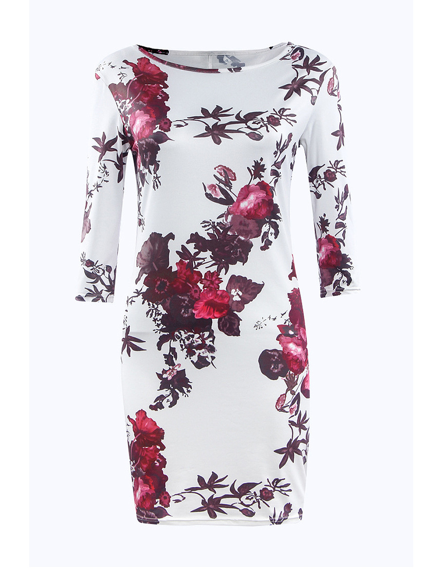 Boat Neck Floral Printed Bodycon Dress
