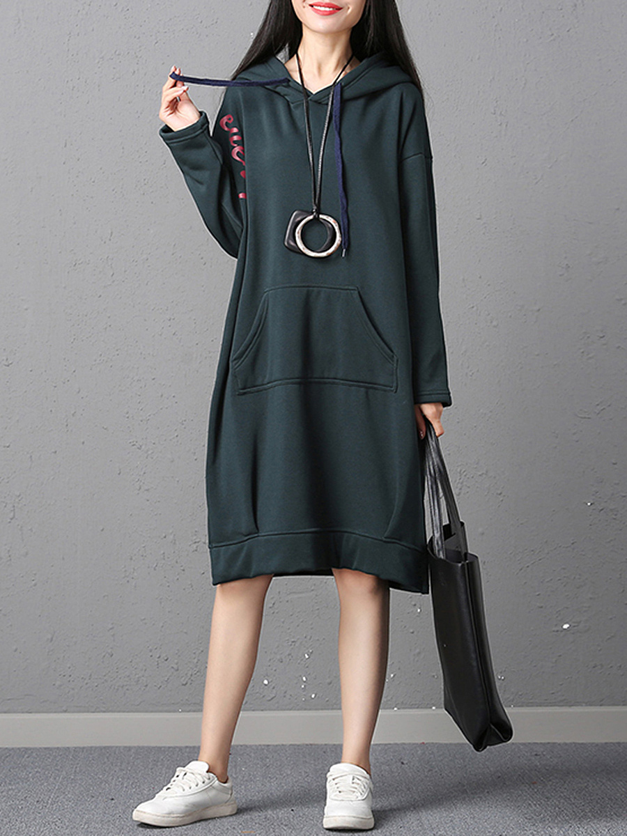 Oversized Hooded Fleece Lined Kangaroo Pocket Maxi Dress