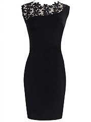 Crew Neck Hollow Out Solid Bodycon Dress In Black