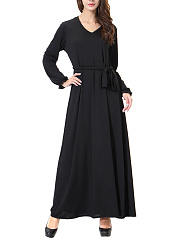 V-Neck  Belt  Plain Daily Maxi Dress