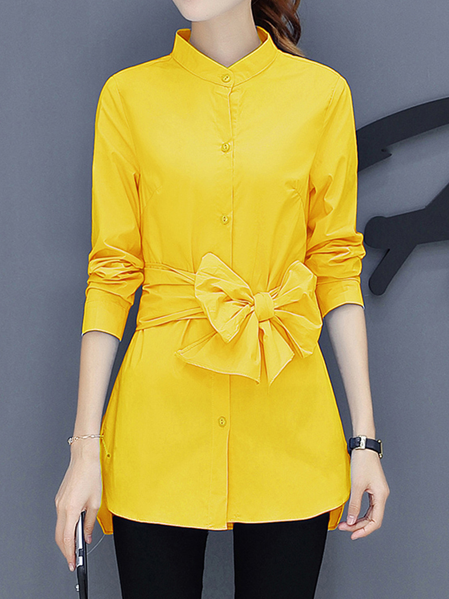 Band Collar  Belt  Plain Blouse