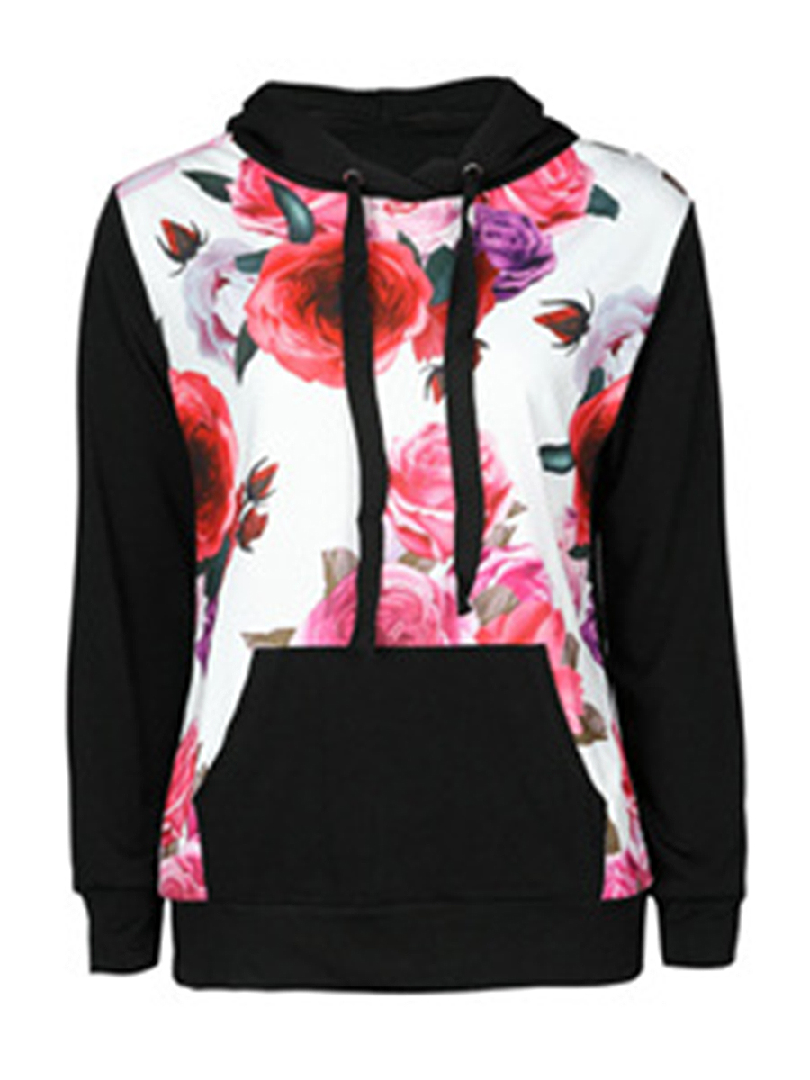 casual patch pocket floral autumn spring hoodies Patch Pocket  Floral  Long Sleeve Hoodies