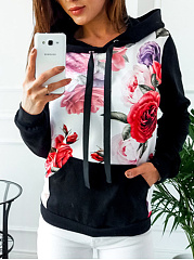 Sweat à Capuche Mélange De Coton Patch Pocket Floral