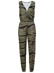 Hot Surplice  Elastic Waist  Printed  Slim-Leg Jumpsuit