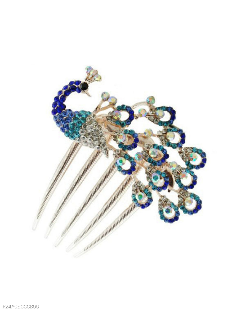 Blue Rhinestone Peacock Shape Hair Comb