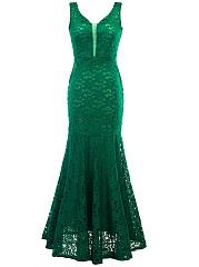 V-Neck-Lace-Mermaid-Hollow-Out-Plain-Evening-Dress