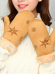 Snow Embroidery Chamois Mittens