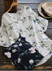 Summer  Cotton  Women  V-Neck  Floral  Short Sleeve Blouses