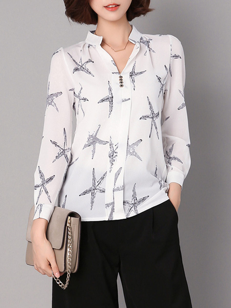 Split Neck Starfish Printed Blouse