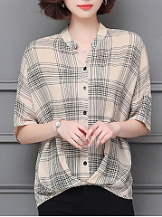 V Neck  Batwing  Checkered  Batwing Sleeve Blouses