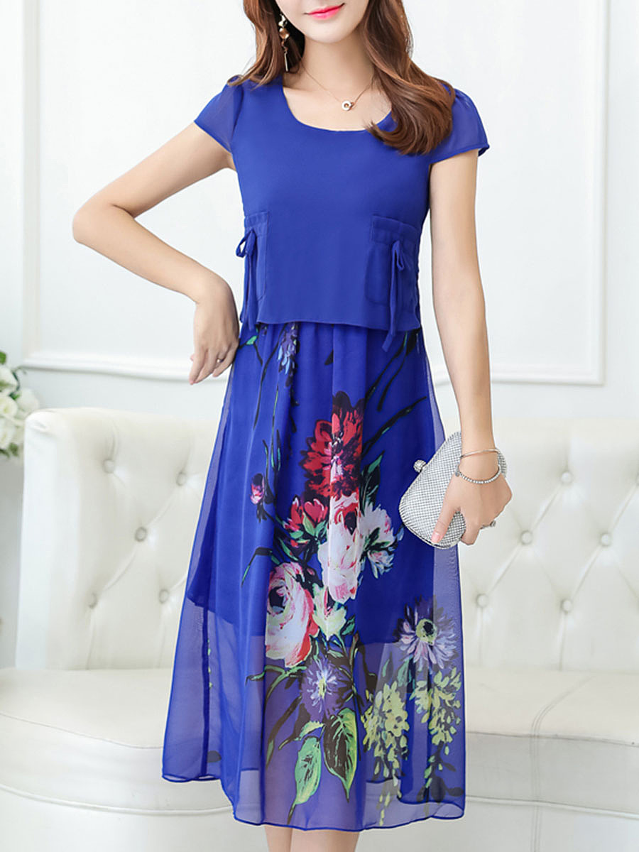 Round Neck Bowknot Floral Hollow Out Chiffon Maxi Dress
