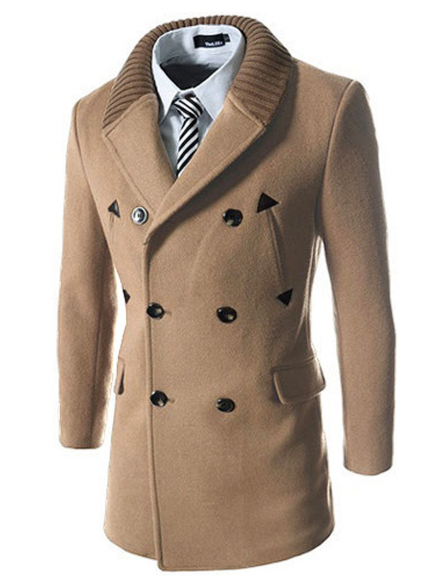 Shawl Collar Double Breasted Flap Pocket Plain Men Coat