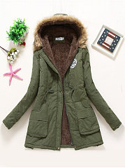 Hooded Drawstring Fleece Lined Patch Pocket Coat