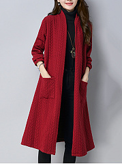 Collarless Patch Pocket Side Slit Embossed Plain Trench Coat