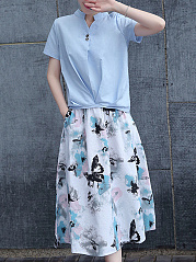 Split-Neck-T-Shirt-And-Elastic-Waist-Butterfly-Printed-Flared-Skirt