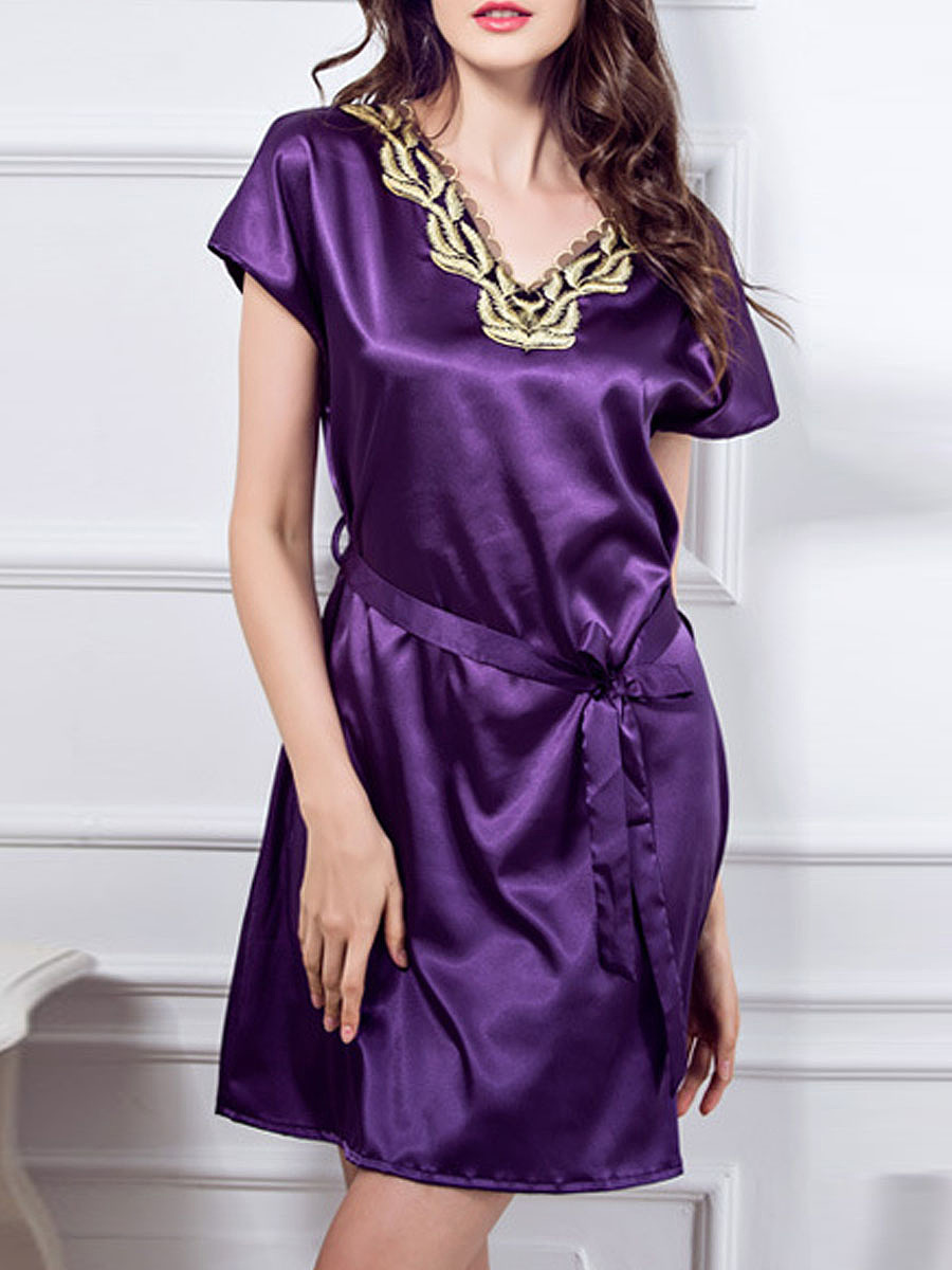 V-Neck  Gold Embroidery  Satin Nightgown