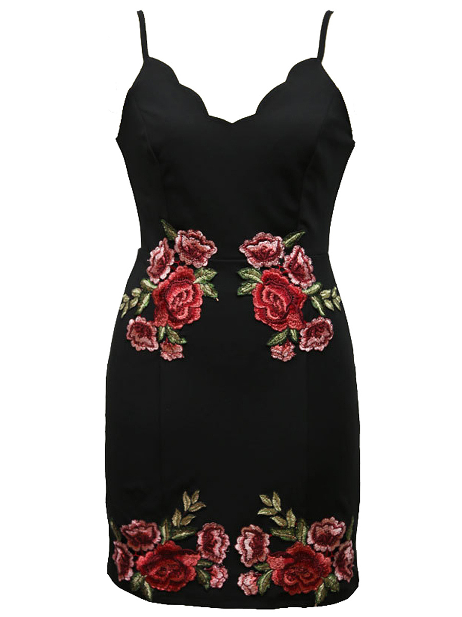 Spaghetti Strap Embroidery Patch Bodycon Dress